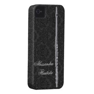Silver Flute on Black Damask iPhone 4 Case-Mate Cases