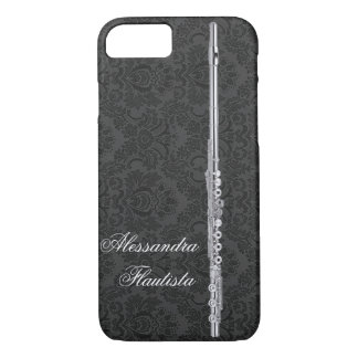 Silver Flute on Black Damask Effect Customizable iPhone 7 Case