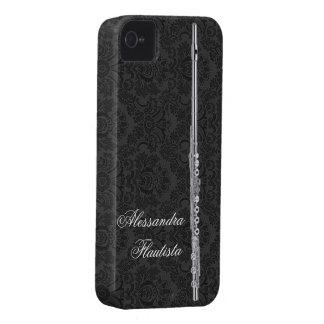 Silver Flute on Black Damask iPhone 4 Case-Mate Case