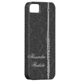 Silver Flute on Black Damask iPhone SE/5/5s Case
