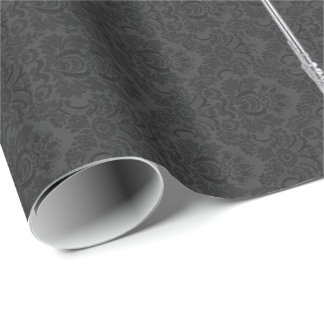 Silver Flute on Black Damask Wrapping Paper