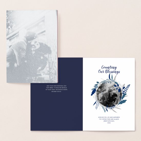 Silver FOIL 1st Year Married Year in Review PHOTO Foil Card