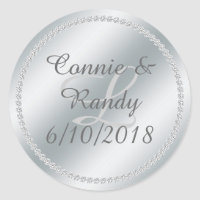 Silver Foil and Diamond Monogram Wedding Sticker