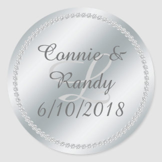 Silver Foil and Diamond Monogram Wedding Sticker