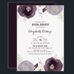 """Silver Foil and Purple Flowers Chic Bridal Brunch Invitation<br><div class=""""desc"""">Invite family and friends to your bridal brunch with this elegant invitation. It features purple and ivory watercolor flowers and foliage with faux silver foil and glitter accents. Personalize by adding your own event details. You can also add a photo or other image to the back of the invitation. This...</div>"""