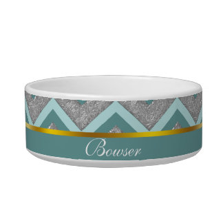 Silver Foil and Teal ZigZag Bowl