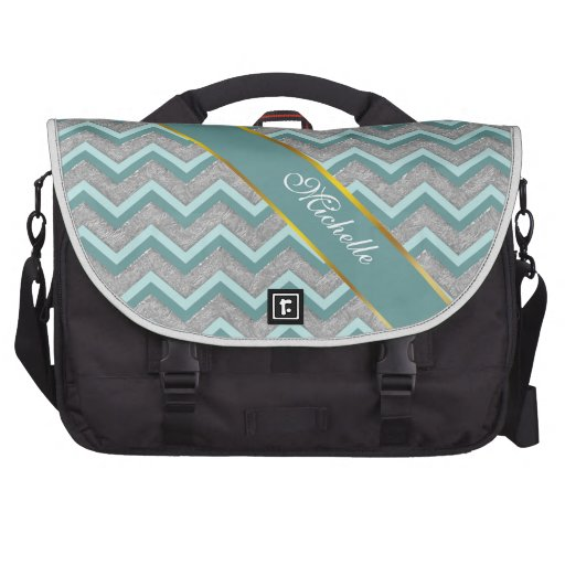 Silver Foil and Teal ZigZag Laptop Bag