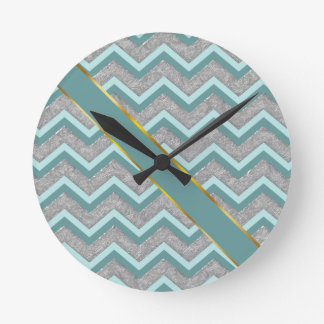 Silver Foil and Teal ZigZag Round Clock