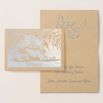 Silver Foil Animals Goats and Dog Peace on Earth Foil Card