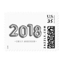 SIlver Foil Balloons Class of 2018 Custom Stamp