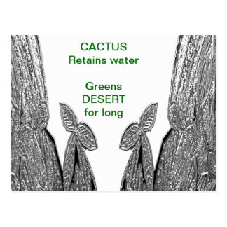 SILVER foil Cactus - Green Theme Post Card