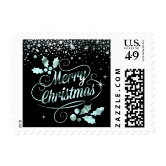 Silver Foil Confetti Merry Christmas Typography Stamp