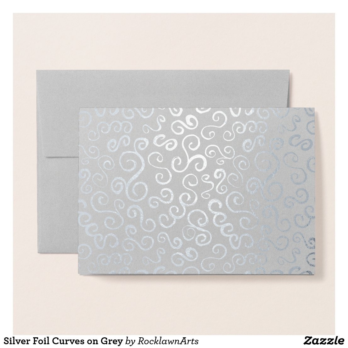 Silver Foil Curves on Grey Foil Card