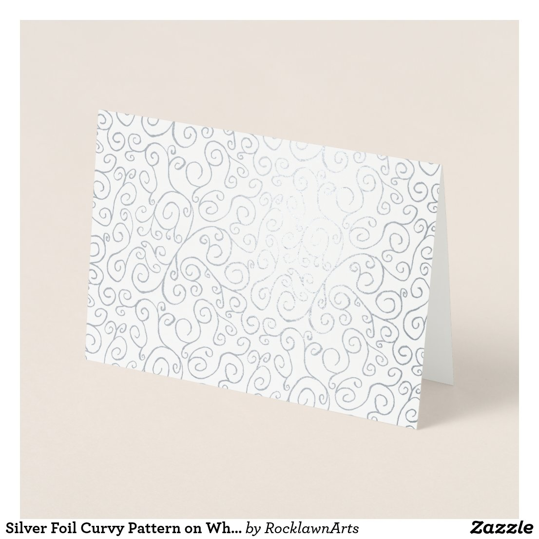 Silver Foil Curvy Pattern on White Foil Card