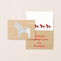 Silver Foil Dala Horse God Jul Greeting Card