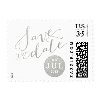 Silver Foil Glamor Date | Save the Date Postage