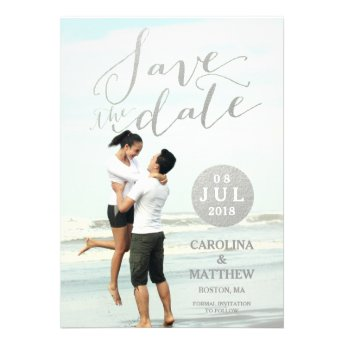 Silver Foil Glamor | Photo Save the Date Card