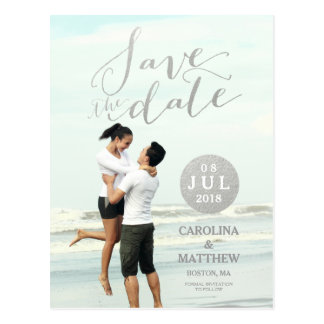 Silver Foil Glamor | Photo Save the Date Postcard