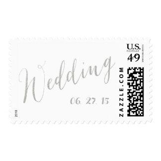 Silver Foil Glamor | Wedding Date Postage