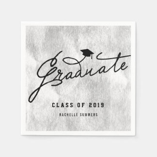 Silver Foil Graduate Graduation Party Paper Napkin