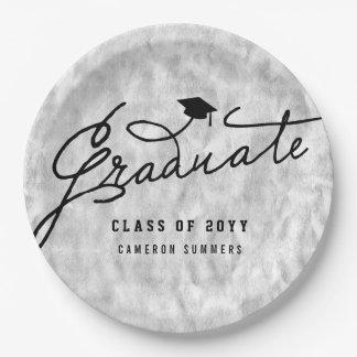 Silver Foil Graduate Graduation Party Paper Plates