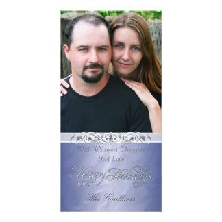 Silver Foil Happy Holiday Blue Photo Card