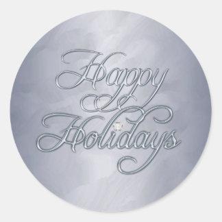 Silver Foil Happy Holidays Diamond Sticker