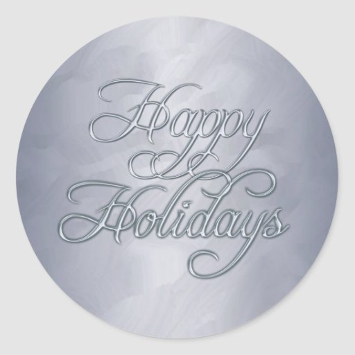 Silver Foil Happy Holidays Envelope Sticker