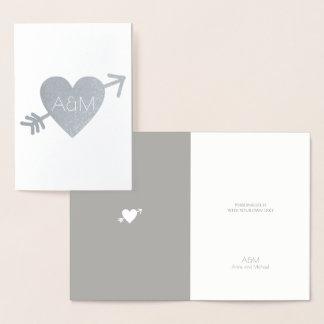 silver-foil-heart with arrow monogrammed wedding foil card