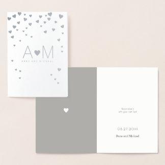 silver foil hearts / monogrammed love wedding foil card
