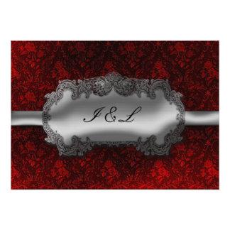 Silver Foil Look Damask Goth Wedding Custom Invites