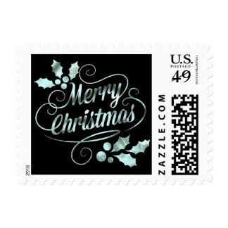 Silver Foil Merry Christmas Typography | black Postage Stamp
