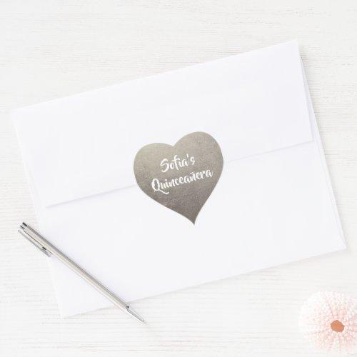 Silver Foil Photo Personalized Quinceaera Heart Sticker