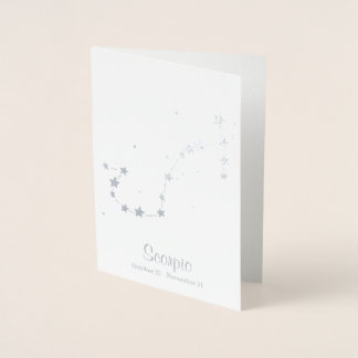 Silver Foil SCORPIO Zodiac Sign Constellation Foil Card