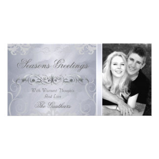 Silver Foil & Silver Filigree Holiday Photo Card