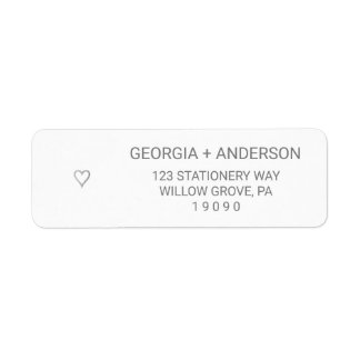 Silver Foil Simple Heart Wedding Label