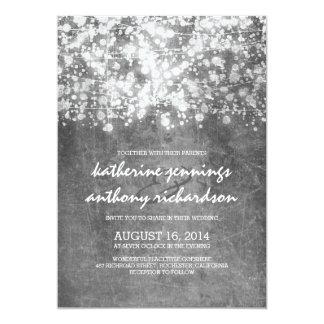 "silver foil string lights glitter wedding invites 5"" x 7"" invitation card"