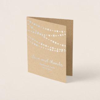 Silver Foil Twinkle Lights on Kraft Thank You Card
