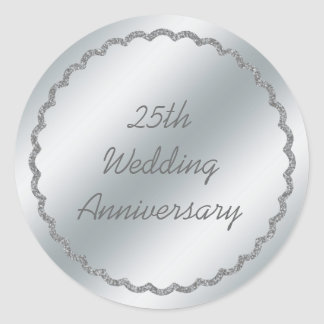 Silver Foil Wedding Anniversary Sticker Custom