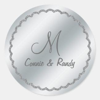 Silver Foil Wedding Monogram Sticker