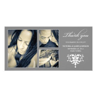SILVER FORMAL COLLAGE | WEDDING THANK YOU CARD PHOTO CARD