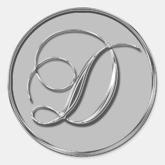 Silver Formal Wedding Monogram D Seal Classic Round Sticker