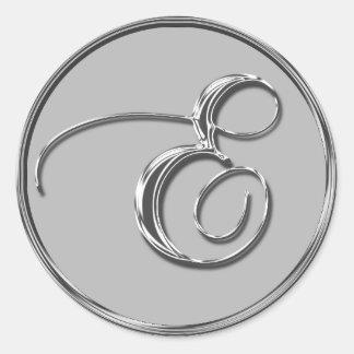 Silver Formal Wedding Monogram E Seal Stickers