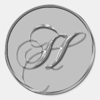 Silver Formal Wedding Monogram H Seal Sticker