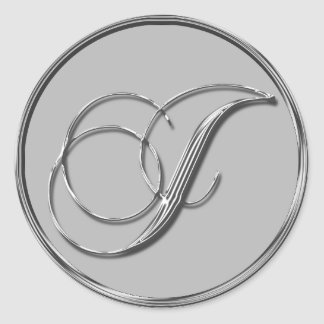 Silver Formal Wedding Monogram I Seal Round Stickers