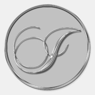Silver Formal Wedding Monogram J Seal Round Sticker