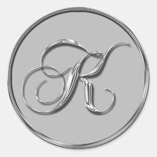 Silver Formal Wedding Monogram K Seal Weddings Classic Round Sticker