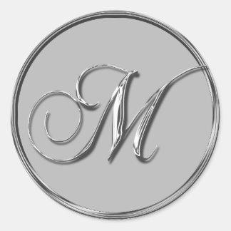 Silver Formal Wedding Monogram M Seal Classic Round Sticker