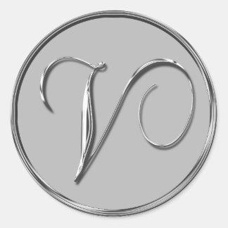 Silver Formal Wedding Monogram V Seal Classic Round Sticker
