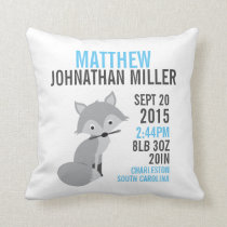 Silver Fox Birth Announcement Nursery Pillow